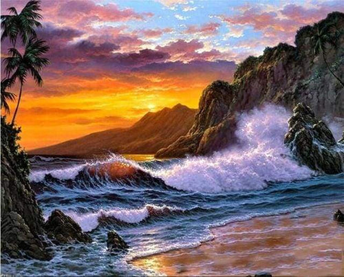paint by numbers | Cliff and Waves | advanced landscapes | FiguredArt