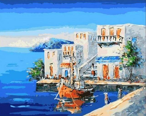 paint by numbers | Coastal House | easy landscapes ships and boats | FiguredArt