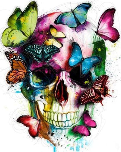 paint by numbers | Colorful Butterflies and Skull | animals butterflies easy | FiguredArt