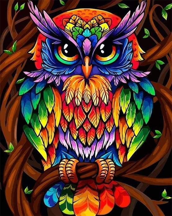 paint by numbers | Colorful Owl | animals easy owls Pop Art | FiguredArt