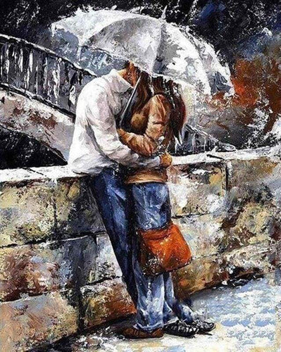 paint by numbers | Couple in the rain | advanced romance | FiguredArt