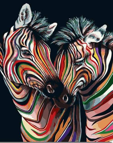 paint by numbers | Couple of Colorful Zebras | animals easy zebras | FiguredArt