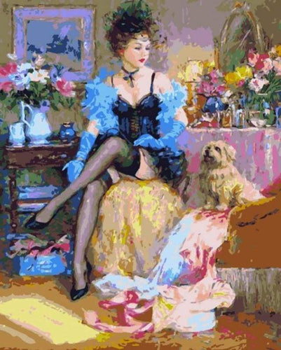 paint by numbers | Courtesan and her Dog | intermediate romance | FiguredArt