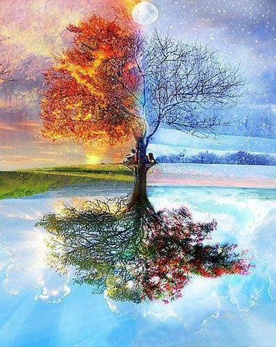 Diamond Painting | Diamond Painting - 4 Seasons Tree Classic | Diamond Painting Landscapes landscapes trees | FiguredArt