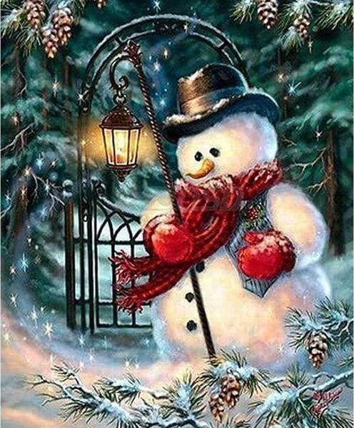 Diamond Painting | Diamond Painting - A Snowman | Diamond Painting Landscapes landscapes winter | FiguredArt