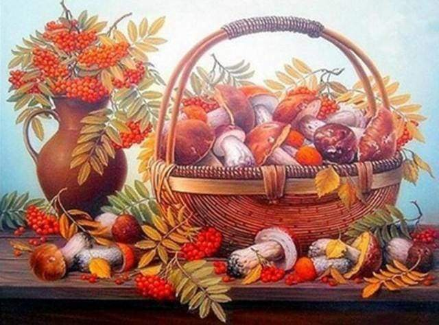 Diamond Painting | Diamond Painting - Basket of Mushrooms | Diamond Painting kitchen kitchen | FiguredArt