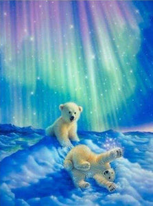 Diamond Painting | Diamond Painting - Bears and Northern Lights | animals bear Diamond Painting Animals | FiguredArt