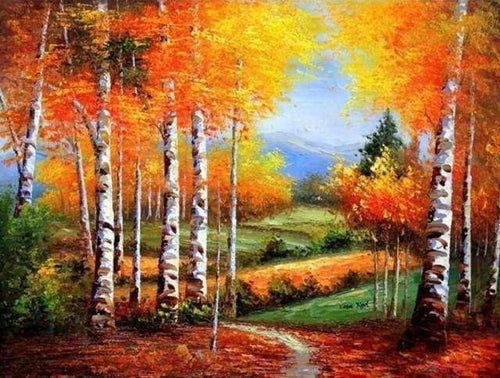 Diamond Painting | Diamond Painting - Birches in Autumn | Diamond Painting Landscapes landscapes | FiguredArt