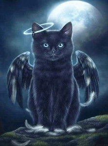 Diamond Painting | Diamond Painting - Black Cat Angel | animals cats Diamond Painting Animals | FiguredArt