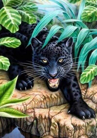Diamond Painting | Diamond Painting - Black Panther | animals Diamond Painting Animals panthers | FiguredArt