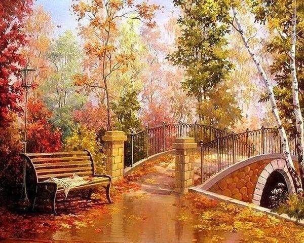 Diamond Painting | Diamond Painting - Bridge during Fall | Diamond Painting Romance romance | FiguredArt