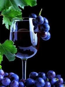 Diamond Painting | Diamond Painting - Bunch of grapes and wine | Diamond Painting kitchen kitchen | FiguredArt