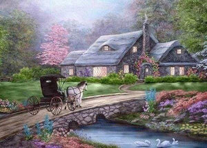 Diamond Painting | Diamond Painting - Carriage on the Bridge | Diamond Painting Landscapes landscapes | FiguredArt