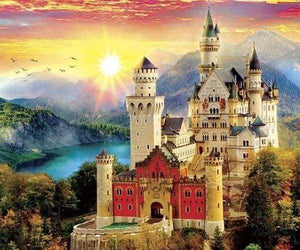 Diamond Painting | Diamond Painting - Castle in the Mountain | castles Diamond Painting Landscapes landscapes mountains | FiguredArt