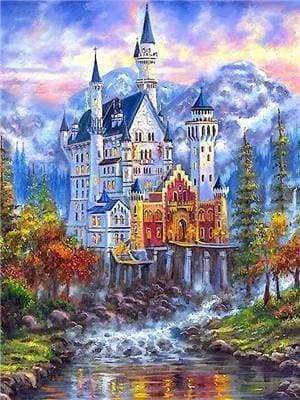 Diamond Painting | Diamond Painting - Castle in the Mountains | castles cities Diamond Painting Cities Diamond Painting Landscapes