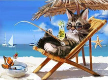 Load image into Gallery viewer, Diamond Painting | Diamond Painting - Cat relaxing Summer Time | animals cats Diamond Painting Animals | FiguredArt