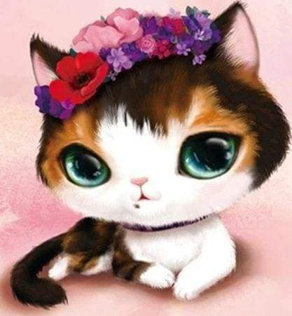 Diamond Painting | Diamond Painting - Cat with Green Eyes | animals cats Diamond Painting Animals | FiguredArt