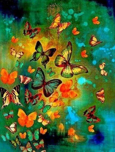 Diamond Painting | Diamond Painting - Colorful Butterflies | animals butterflies Diamond Painting Animals | FiguredArt
