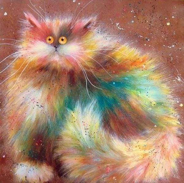 Diamond Painting | Diamond Painting - Colorful Cat | animals cats Diamond Painting Animals | FiguredArt
