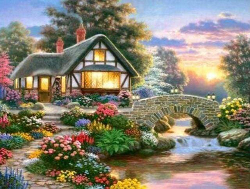 Diamond Painting | Diamond Painting - Cozy House and Flowers | Diamond Painting Landscapes landscapes | FiguredArt