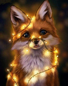 Diamond Painting | Diamond Painting - Cute Fox with Christmas Light | animals Diamond Painting Animals foxes | FiguredArt