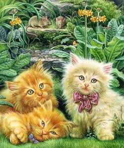 Diamond Painting | Diamond Painting - Cute Kittens in the Garden | animals cats Diamond Painting Animals | FiguredArt
