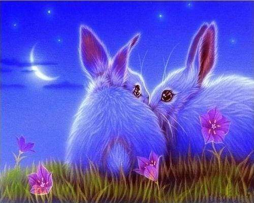 Diamond Painting | Diamond Painting - Cute Rabbits | animals Diamond Painting Animals rabbits | FiguredArt
