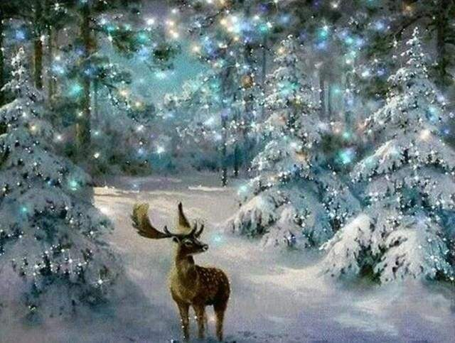 Diamond Painting | Diamond Painting - Deer in Winter | animals Diamond Painting Animals Diamond Painting Landscapes landscapes winter |