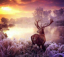 Load image into Gallery viewer, Diamond Painting | Diamond Painting - Deer near the Lake | animals Diamond Painting Animals Diamond Painting Landscapes landscapes |