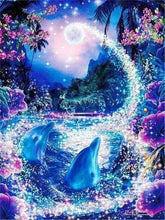 Load image into Gallery viewer, Diamond Painting | Diamond Painting - Dolphins and Enchanted River | animals Diamond Painting Animals Diamond Painting Landscapes dolphins