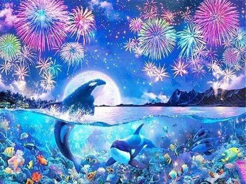 Diamond Painting | Diamond Painting - Dolphins and Fireworks | animals Diamond Painting Animals Diamond Painting Landscapes dolphins
