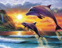 Load image into Gallery viewer, Diamond Painting | Diamond Painting - Dolphins at sunrise | animals Diamond Painting Animals dolphins | FiguredArt