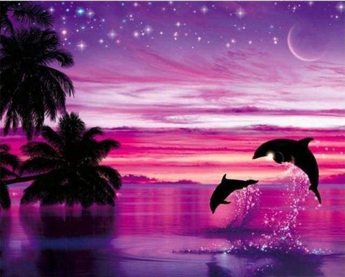 Diamond Painting | Diamond Painting - Dolphins having fun | animals Diamond Painting Animals Diamond Painting Landscapes dolphins landscapes