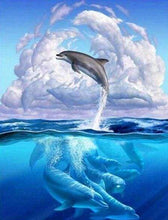 Load image into Gallery viewer, Diamond Painting | Diamond Painting - Dolphins Jumping | animals Diamond Painting Animals dolphins | FiguredArt