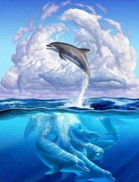 Diamond Painting | Diamond Painting - Dolphins Jumping | animals Diamond Painting Animals dolphins | FiguredArt