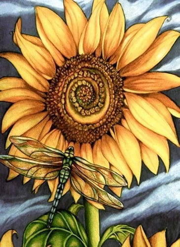 Diamond Painting | Diamond Painting - Dragonfly and Sunflower | animals Diamond Painting Animals Diamond Painting Flowers flowers |