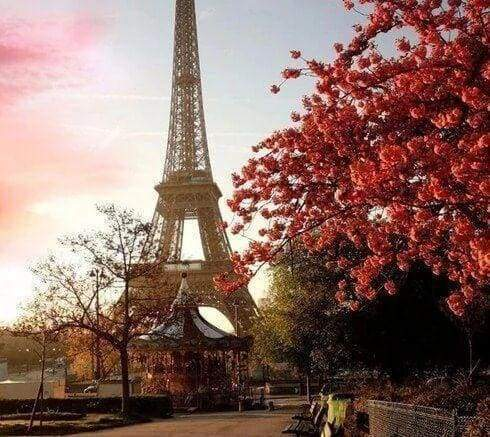 Diamond Painting | Diamond Painting - Eiffel Tower and Red Flowers | cities Diamond Painting Cities trees | FiguredArt