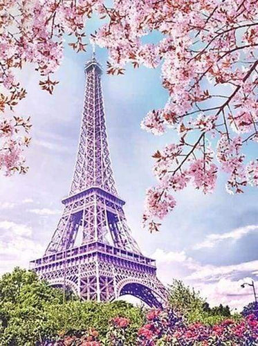 Diamond Painting | Diamond Painting - Eiffel Tower in Spring | cities Diamond Painting Cities Diamond Painting Romance romance | FiguredArt