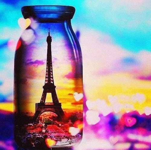 Diamond Painting | Diamond Painting - Eiffel Tower Vase | Diamond Painting Cities Diamond Painting Romance romance | FiguredArt