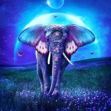 Load image into Gallery viewer, Diamond Painting | Diamond Painting - Elephant and Full Moon | animals Diamond Painting Animals elephants | FiguredArt