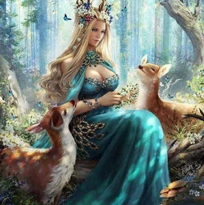 Diamond Painting | Diamond Painting - Fairy and Fawns in the Forest | animals Diamond Painting Animals | FiguredArt