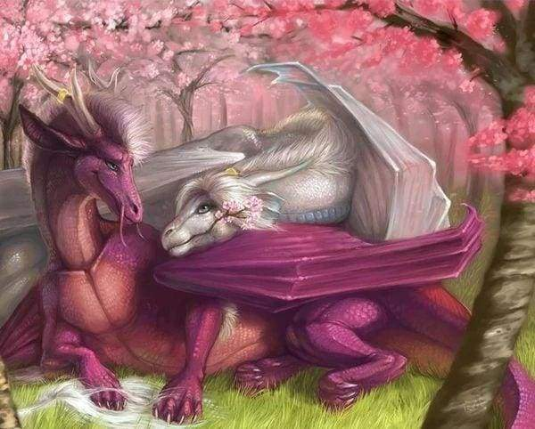 Diamond Painting | Diamond Painting - Fairy Dragons | animals Diamond Painting Animals | FiguredArt