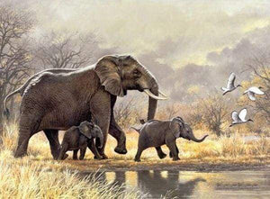 Diamond Painting | Diamond Painting - Family of Elephants in the savannah | animals Diamond Painting Animals elephants | FiguredArt