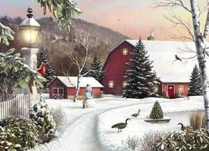 Diamond Painting | Diamond Painting - Farm in the Snow | Diamond Painting Landscapes landscapes winter | FiguredArt
