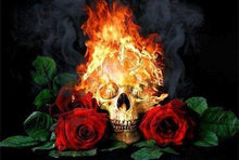 Load image into Gallery viewer, Diamond Painting | Diamond Painting - Fire Skull and Roses | Diamond Painting Flowers flowers | FiguredArt