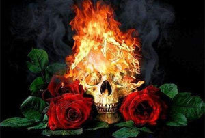 Diamond Painting | Diamond Painting - Fire Skull and Roses | Diamond Painting Flowers flowers | FiguredArt