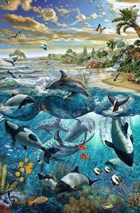 Diamond Painting | Diamond Painting - Fish and Dolphins | animals Diamond Painting Animals dolphins fish | FiguredArt