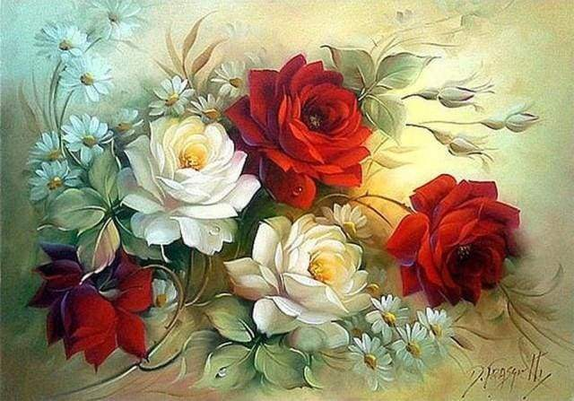 Diamond Painting | Diamond Painting - Flower Arrangement red and white | Diamond Painting Flowers flowers | FiguredArt