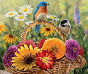 Diamond Painting | Diamond Painting - Flowers and Birds on the basket | animals Diamond Painting Animals | FiguredArt
