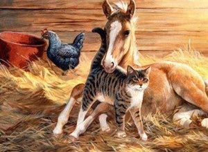 Diamond Painting | Diamond Painting - Foal and Cat | animals Diamond Painting Animals | FiguredArt